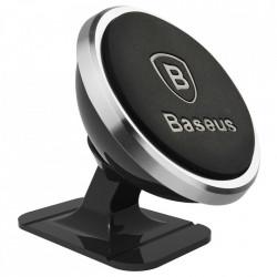 Suport telefon magnetic auto, Baseus 360, cu banda adeziva, silver