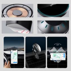 Suport telefon mobil magnetic Baseus incarcator wireless Qi 15 W (compatibil MagSafe pentru iPhone) negru (WXJN-01)