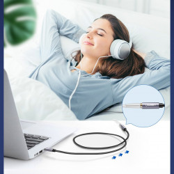 Ugreen AUX Cablu de extensie mini jack de 3,5 mm, lungime 1m argintiu (10592)