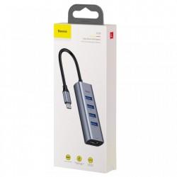 Adaptor USB-C la 4x USB 3.0 + HDMI, Baseus Enjoy HUB, gri
