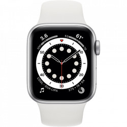 Apple Watch 6, GPS, Carcasa Silver Aluminium 44mm, White Sport Band