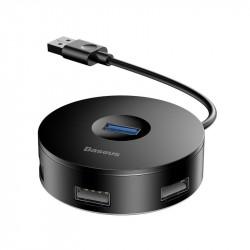 Baseus Hub 4in1 USB până la USB 3.0 + 3x USB 2.0 15cm (negru)
