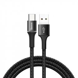 Cablu de date Baseus Halo USB / USB-C cu lumină LED 3A 1M negru (CATGH-B01)
