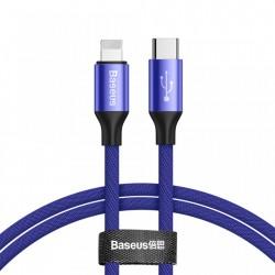 Cablu pentru incarcare Lightning, Baseus Yiven, USB C -Lightning, 1 m, Albastru