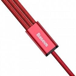 Cablu pentru incarcare pentru toate tipurile de dispozitive, Baseus Rapid USB, cu mufe Micro-USB, USB-C, Lightning, 3A, 1,2M, rosu