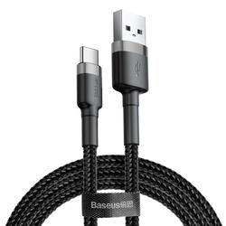 Cablu Type C , QC3.0 , 2.4A , 2M, BASEUS Cafule Durable Nylon, negru+gri