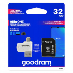 Goodram All in one 32GB micro SD HC UHS-I class 10 card de memorie, adaptor SD, cititor de carduri OTG micro SD (USB, micro USB) (M1A4-0160R12)