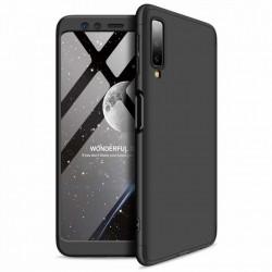 Husa 360° Matte Full Protection Gema Mixt pentru SSamsung Galaxy A7 2018 A750 (fata + spate ) , negru