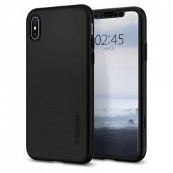 Husa iPhone XS Max Thin Fit 360° SPIGEN + Sticla securizata - Negru