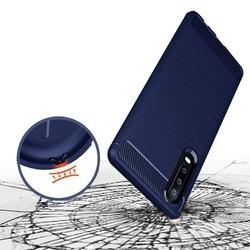 Husa telefon TPU model carbon , Gema Mixt pentru Huawei P30 , albastru