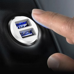 Incarcator auto, Baseus Grain, 2x USB 3.1A, negru