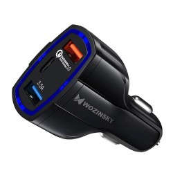 Incarcator auto cu 2 iesiri,universal 2x USB / USB Type C Quick Charge 3.0 QC3.0 black (WCC-01)