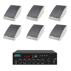 Pachet Sonorizare 60W de perete, FM+USB+Bluetooth, DSPPA MP60UB+6xDSP106II
