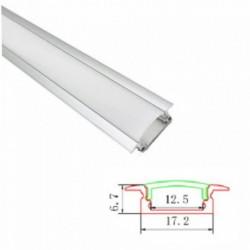 Profil banda LED, plat, montaj incastrat, aluminu, 2 m