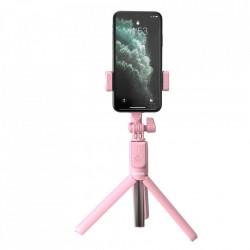 Selfie stick cu stand telefon si telecomanda , Baseus , roz
