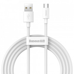 Set 2 cabluri Baseus Simple Wisdom USB - micro USB 2,1 A 1,5 m white (TZCAMZJ-02)