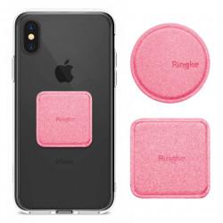 Set placute metalice acoperite cu piele, Ringke, pentru suport magnetic auto, roz