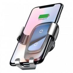 Suport auto Baseus Wireless Fast Charger Gravity Metal cu incarcare wireless Qi , argintiu