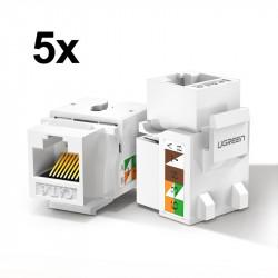 Ugreen 5x module de retea neecranate Ethernet Cat 6 8P8C RJ45 1000 Mbps 568A / B alb (80179 NW143)