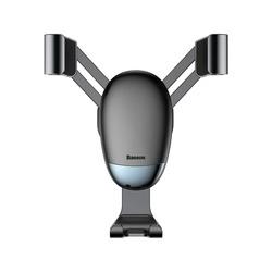 Suport auto din aluminiu cu spatiu pentru cablu incarcare , Baseus Mini Gravity , prindere in ornament ventilatie , negru