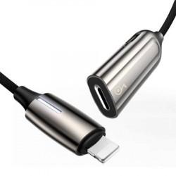 Adaptor Audio Baseus L55 Lightning pentru 2x Lightning (argintiu)