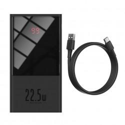 Baterie externa Baseus Super Mini, 10000mAh, USB + USB-C, SCP, QC 3.0, PD, 22.5W (black)
