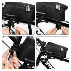 Borseta bicicleta Wozinsky cu husa telefon impermeabila pentru telefoane pana in 6.5 inch, cablu jack 3.5 mm inclus , montare pe cadru , 1.5 L , neagra