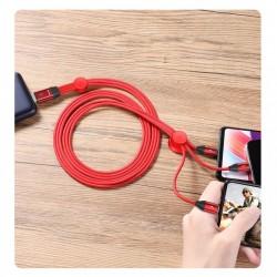 Cablu de date 3 in 1 , Baseus USB - micro USB / Lightning / USB Type C 3.5A 1m rosu (CAMLT-FX09)