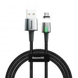 Cablu de date din zinc,magnetic, Baseus USB la micro USB 2.4A 1m Black (CAMXC-A01)