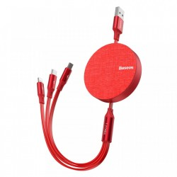 Cablu de date (lightning) si incarcare Baseus Fabric , 1.2 M , retractabil cu 3 capete 1 x USB C , 1 x micro-usb , 1 x lightning , rosu