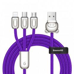 Cablu de date triplu, Baseus Three Little Pigs, Micro-USB, USB-C, Lightning, 3.5A, 1,2M, mov