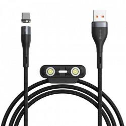 Cablu de incarcare si dateBaseus Zinc 3in1 USB - Lightning / USB Typ C / micro USB Incarcare rapida AFC 1 m 3 A 480 Mbps negru si gri (CA1T3-AG1)
