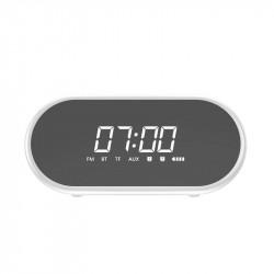 Ceas desteptator cu functie FM Radio, Boxa bluetooth, lampa LED, oglinda, Baseus Encok E09 , alb