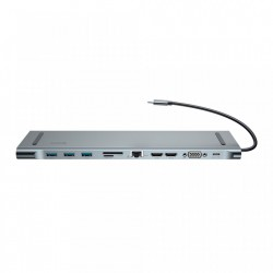 Hub 11 in 1 , Baseus Enjoyment MacBook / notebook stand HUB USB Typ C PD / VGA / HDMI / RJ45 / USB 3.0 / SD, TF, micro SD Dark for MacBook / PC ,gri (CATSX-G0G)