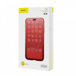 Husa Book, Baseus Touchable, TPU gel + sticla securizata, pentru iPhone X, rosu