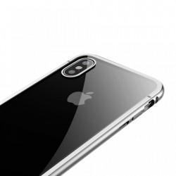 Husa de protectie hibrida din sticla transparenta si rama magnetica, Baseus Magnetite , iPhone XS / X, contur argintiu