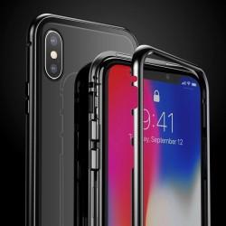 Husa de protectie hibrida din sticla transparenta si rama magnetica, Baseus Magnetite , iPhone XR, contur negru