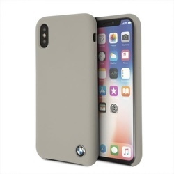 Husa telefon din piele ecologica , perforata , tip bumper , Bmw pentru Apple iPhone X/Xs , bej