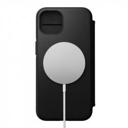 Husa telefon din piele naturala Nomad MagSafe Rugged Folio, negru- iPhone 13