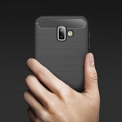 Husa telefon TPU model carbon , Gema Mixt pentru Samsung Galaxy J6 Plus 2018 J610 , neagra