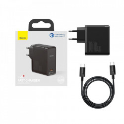 Incarcator +cablu USB C la USB C 100 W (20 V / 5 A) de 1.5m Baseus GaN2 (gallium nitride) 100 W Quick Charge 5 Power Delivery 3.0 black (TZCCGAN-L01)