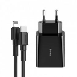 Incarcator priza Baseus USB Type C iesire 18 W 3 A + cablu USB Type C - Lightning 2,4 A 1 m negru (TZCCFS-X01)