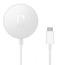 Incarcator Qi fara fir Joyroom 15 W pentru iPhone (compatibil MagSafe) + cablu USB tip C alb (JR-A28)