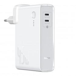 Incarcator rapid de perete cu functie si de baterie externa de 10 000 mAh ,Baseus GaN PPS 45 W 2x USB Type C Quick Charge 3.0 cu Power Delivery (nitrură de galiu) + cablu USB Type C 1 m alb (PPNLD-F02)