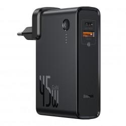 Incarcator rapid de perete cu functie si de baterie externa de 10 000 mAh ,Baseus GaN PPS 45 W 1x USB Type C si 1 USB, Quick Charge 3.0 cu Power Delivery (nitrură de galiu) + cablu USB Type C 1 m negru (PPNLD-F01)