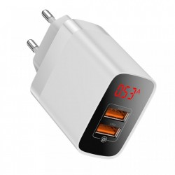 Incarcator retea cu display , Baseus Mirror Lake Travel Quick Charge 3.0 2x USB 18W alb (CCJMHA-A02)
