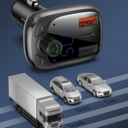 Modulator FM bluetooth 5.0 si incarcator, Baseus Quick Charge 4.0 Power Delivery USB Typ C / microSD 5A black (CCTM-B01)