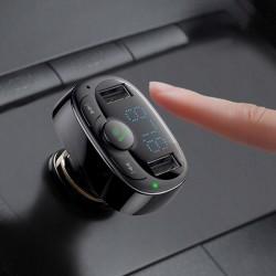 Modulator FM bluetooth si incarcator, Baseus T-Typed FM MP3 2x USB TF microSD 3.4A , negru