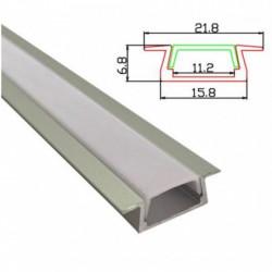 Profil banda LED, montaj incastrat, aluminiu, 2 m