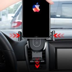 Suport auto pentru telefon cu incarcare wireless QI si brat flexibil , Baseus Heukji Fast charge , Negru